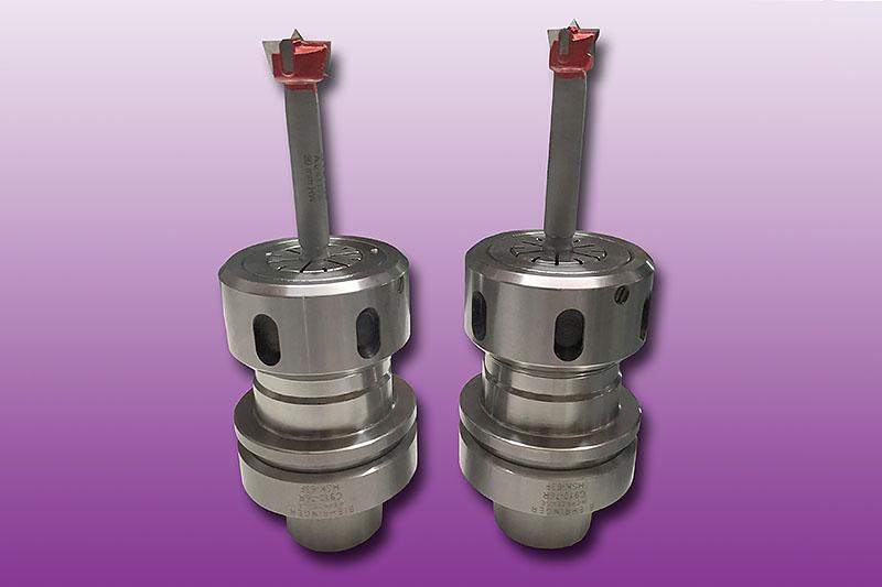 HW-bestückte-CNC-Zylinderkopfbohrer im HSK63F-Spannzangenfutter